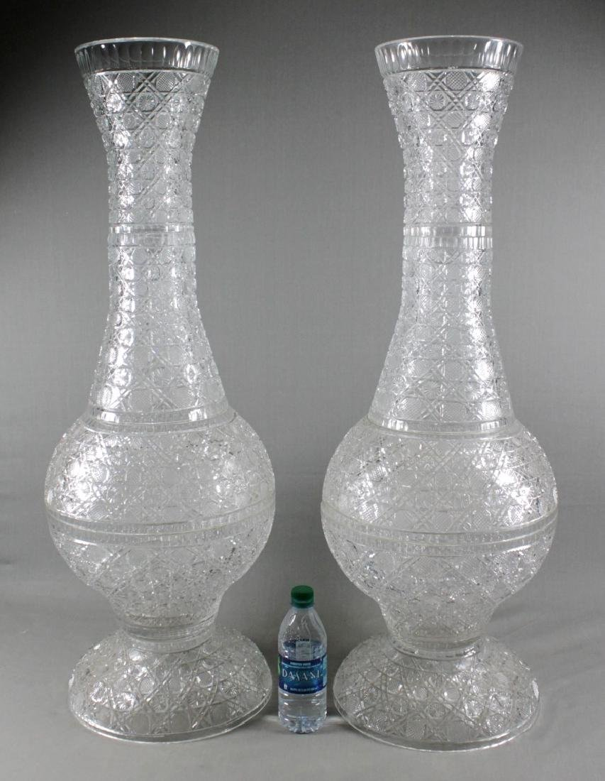 PAIR OF MONUMENTAL CRYSTAL URNS