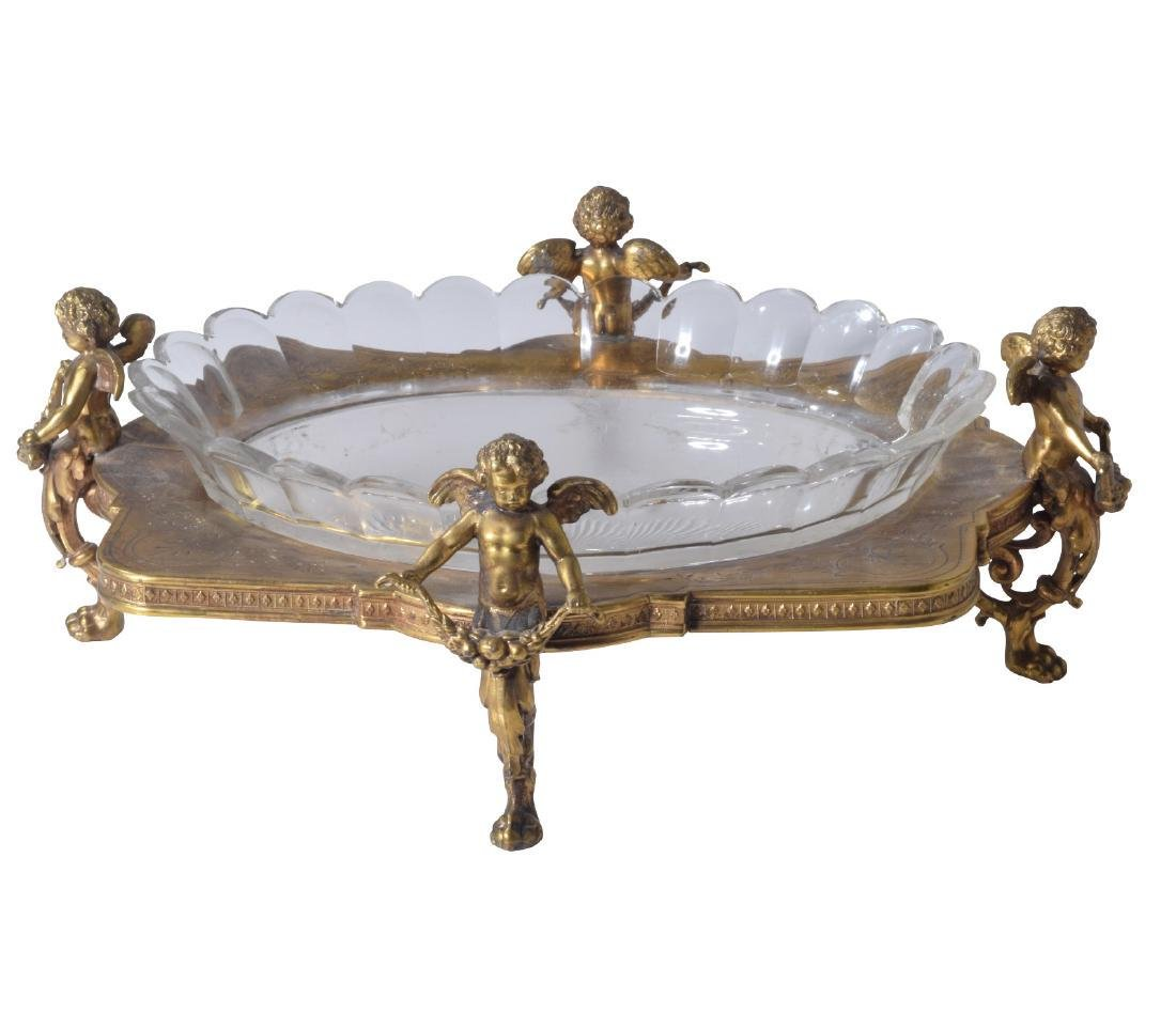 Early 20th C. Gilt and Crystal Figural Centerpiece
