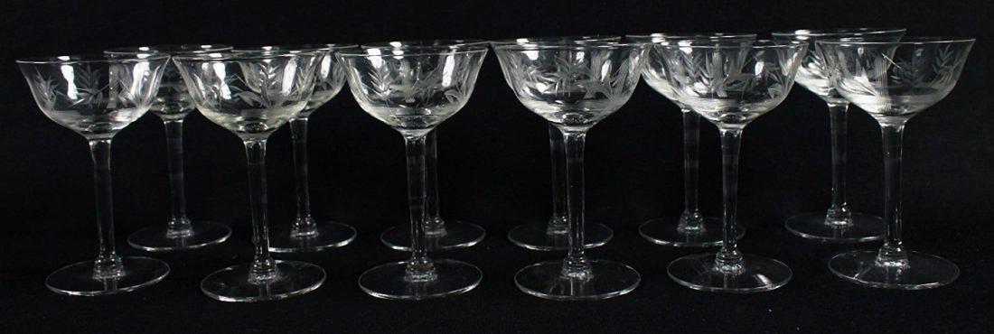 ETCHED WINE GLASSES, 12 PCS