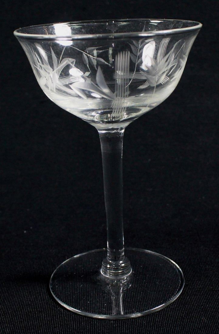 ETCHED WINE GLASSES, 12 PCS - 6