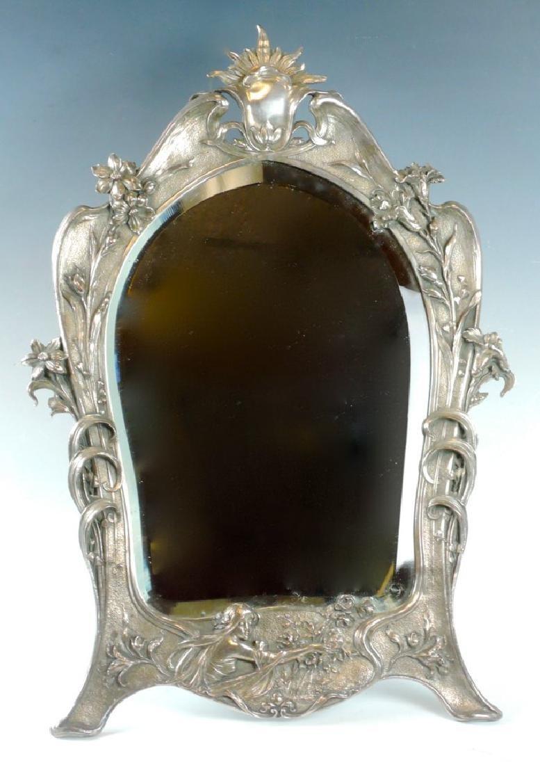 Art Nouveau Silverplate Beveled Dresser Mirror