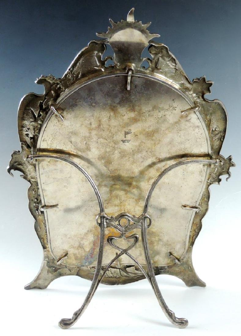 Art Nouveau Silverplate Beveled Dresser Mirror - 2