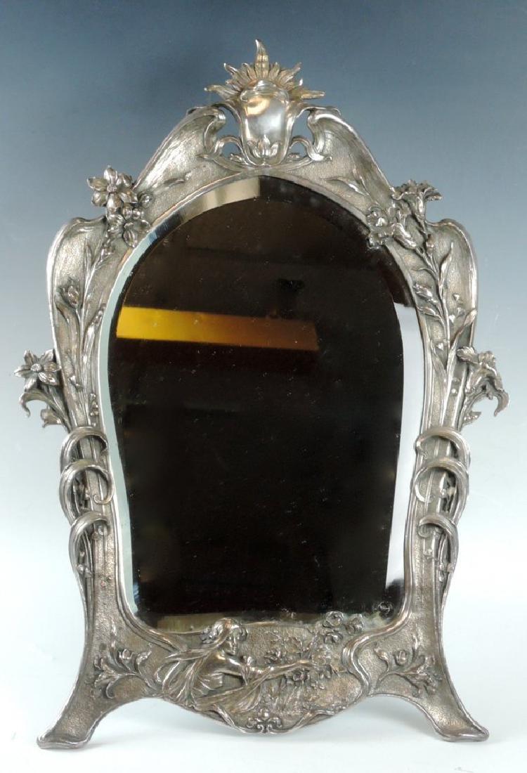 Art Nouveau Silverplate Beveled Dresser Mirror - 4