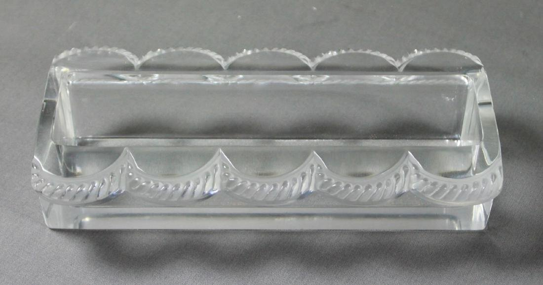 8 PC. LALIQUE MOLDED GLASS OVAL CENTERPIECE - 5