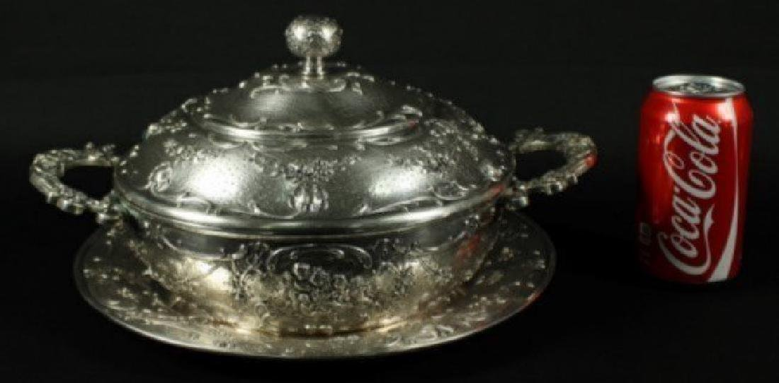 BEAUTIFUL SILVER BOWL WITH LID AND UNDERPLATE - 2
