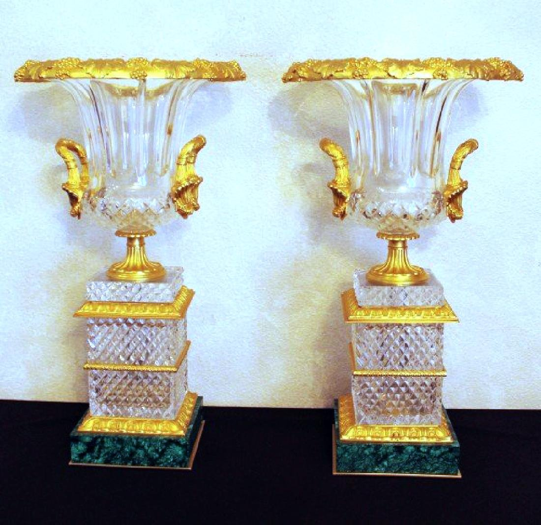 PAIR OF BACCARAT CRYSTAL AND BRONZE MALACHITE VASES