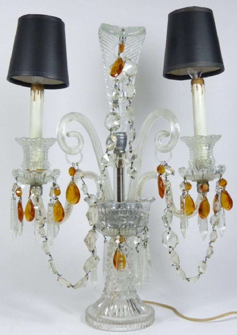 PAIR OF CRYSTAL GIRONDOLE TABLE LAMPS - 2