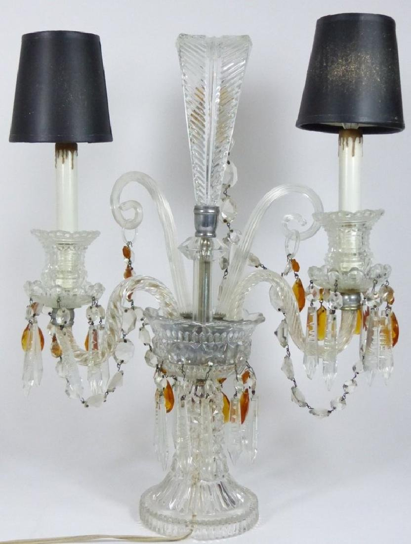 PAIR OF CRYSTAL GIRONDOLE TABLE LAMPS - 9