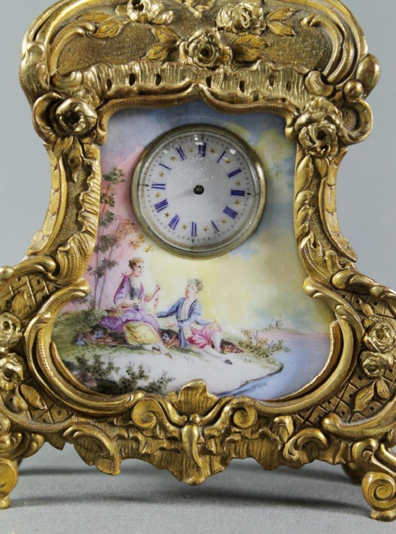AUSTRIAN VIENNA VIENNESE ENAMEL ORMOLU GILT BRONZ CLOCK - 2