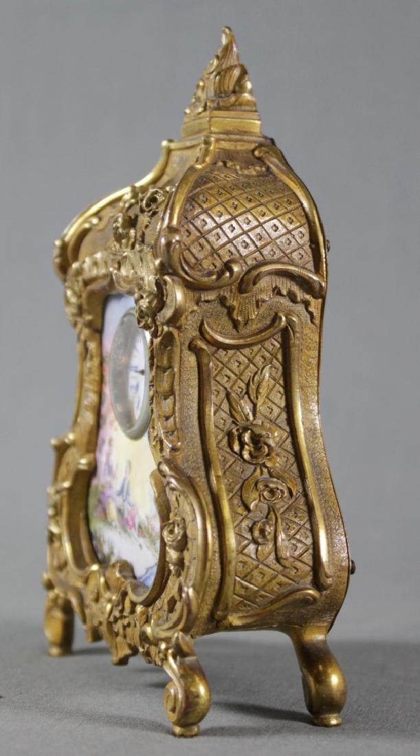 AUSTRIAN VIENNA VIENNESE ENAMEL ORMOLU GILT BRONZ CLOCK - 3