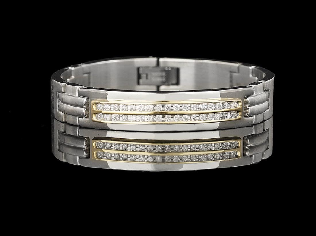 14k yellow gold/stainless steel and diamond bracelet