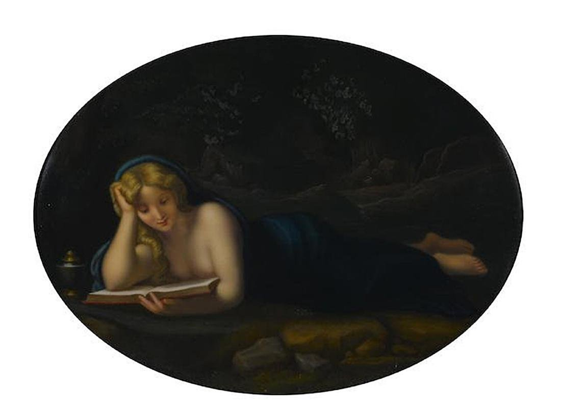 A GERMAN PORCELAIN OVAL PLAQUE: PENITENT MAGDALENE