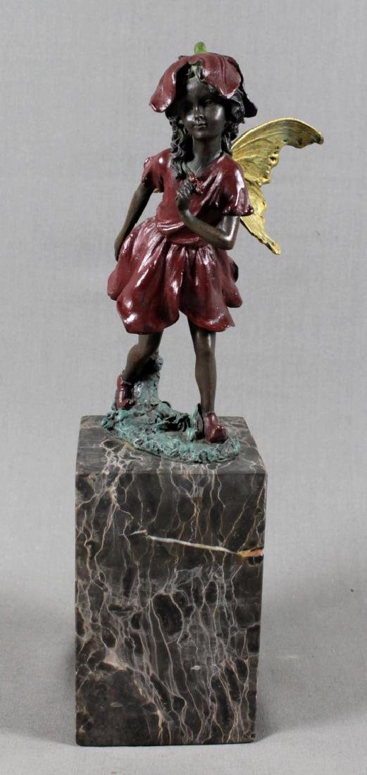 POLYCHROME BRONZE FIGURE OF GIRL ON MARBLE BASE