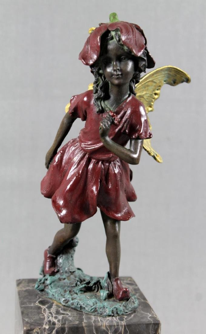 POLYCHROME BRONZE FIGURE OF GIRL ON MARBLE BASE - 2