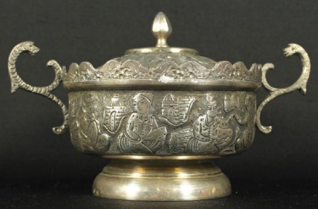 ANTIQUE PERSIAN STERLING SILVER TEA SET REZVANI SIGNED - 3