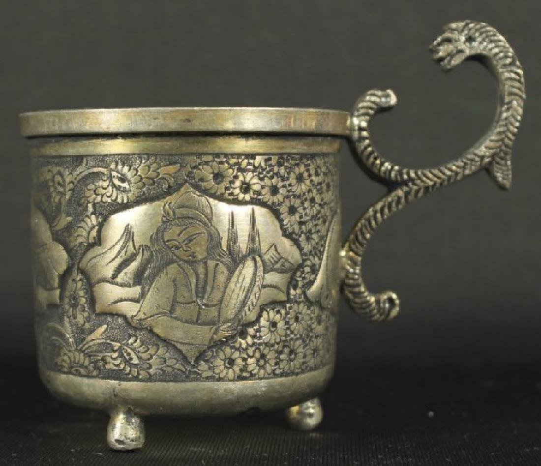 ANTIQUE PERSIAN STERLING SILVER TEA SET REZVANI SIGNED - 4