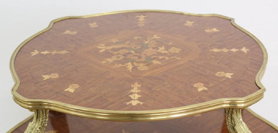Louis XV Style Serving Table 2-Tier Inlaid - 3