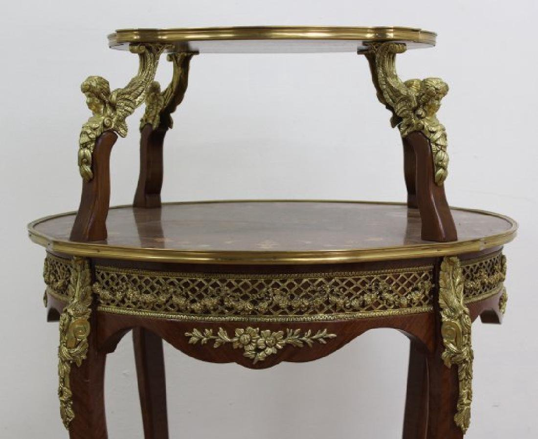 Louis XV Style Serving Table 2-Tier Inlaid - 4
