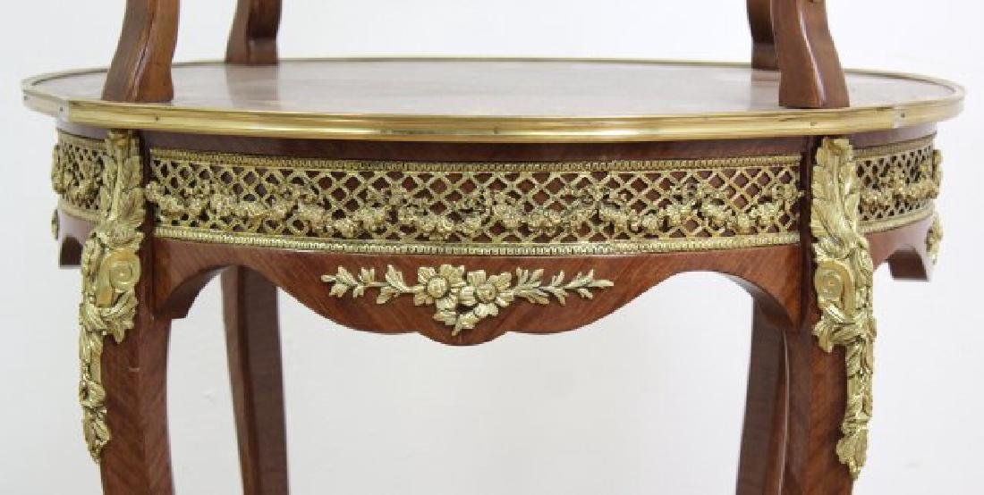 Louis XV Style Serving Table 2-Tier Inlaid - 5