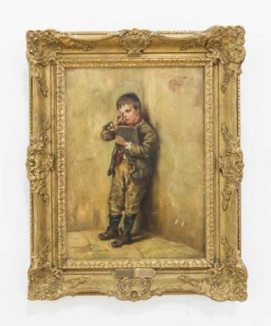 ANTIQUE PAINTING IN GILT FRAME SIGNED