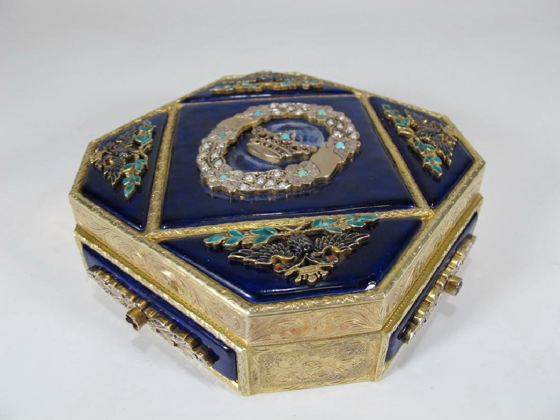 Antique silver enamel, pearls, garnet, turquoise box