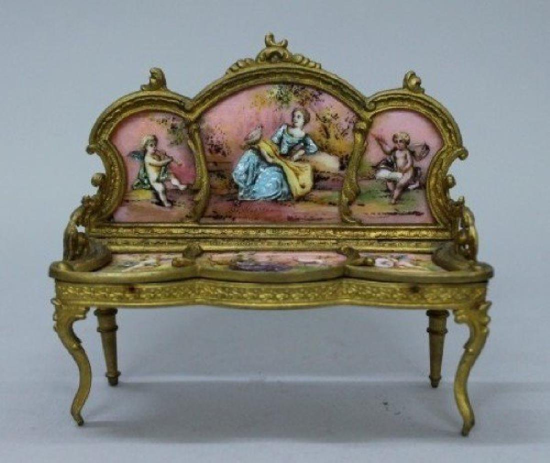 MAGNIFICENT VIENNESE ENAMEL AND PORCELAIN MINIATURE - 2