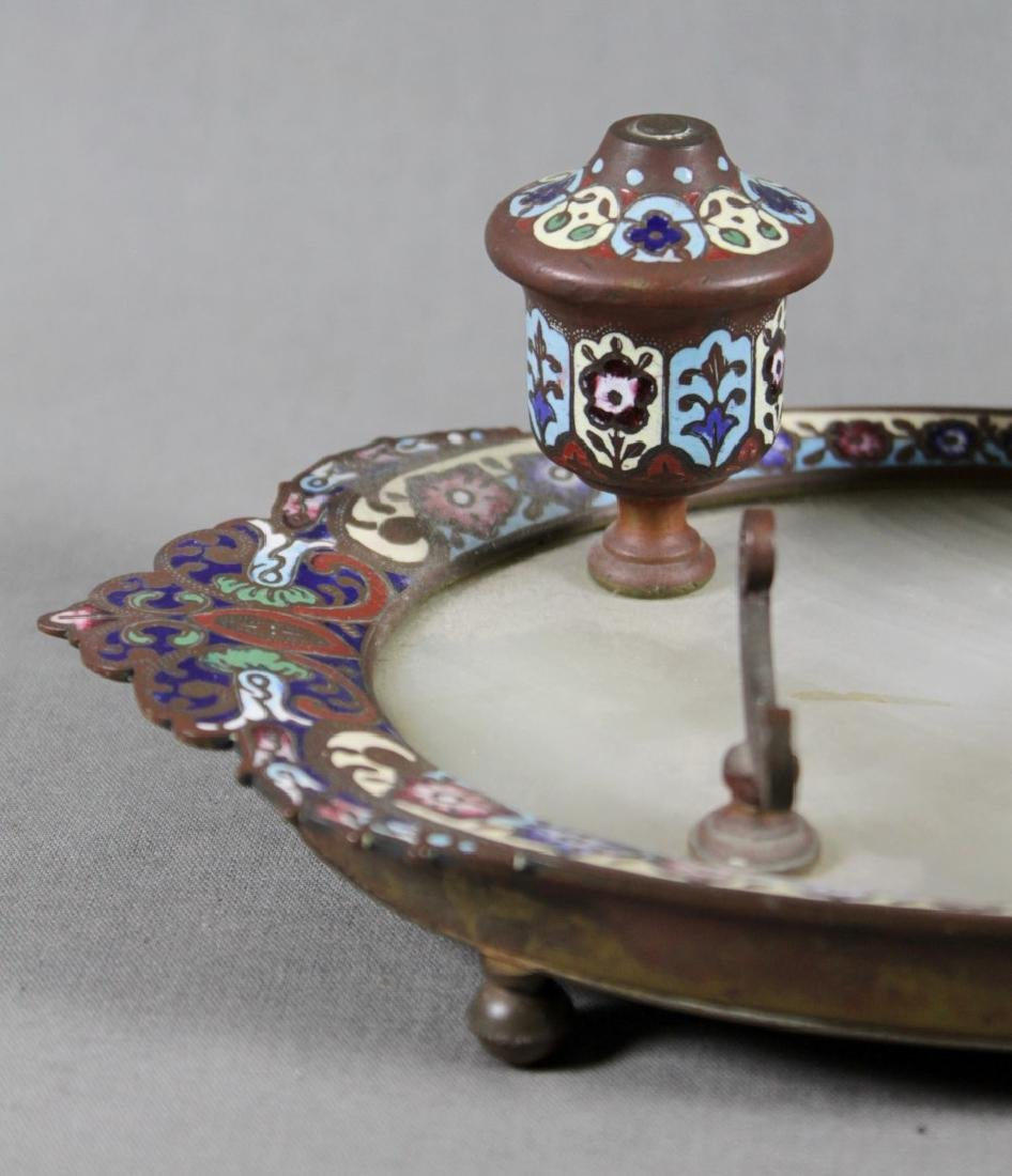 FRENCH CHAMPLEVE AND BRONZE INKWELL - 2