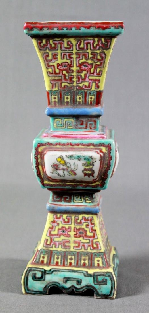 PAIR OF CHINESE FAMILE ROSE PORCELAIN ALTAR VASES - 2