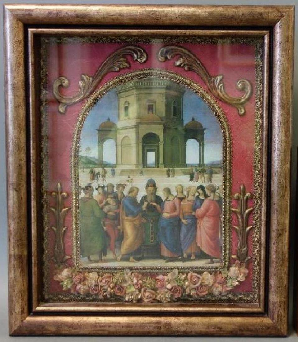 Framed print depicting the oil on wood painting by