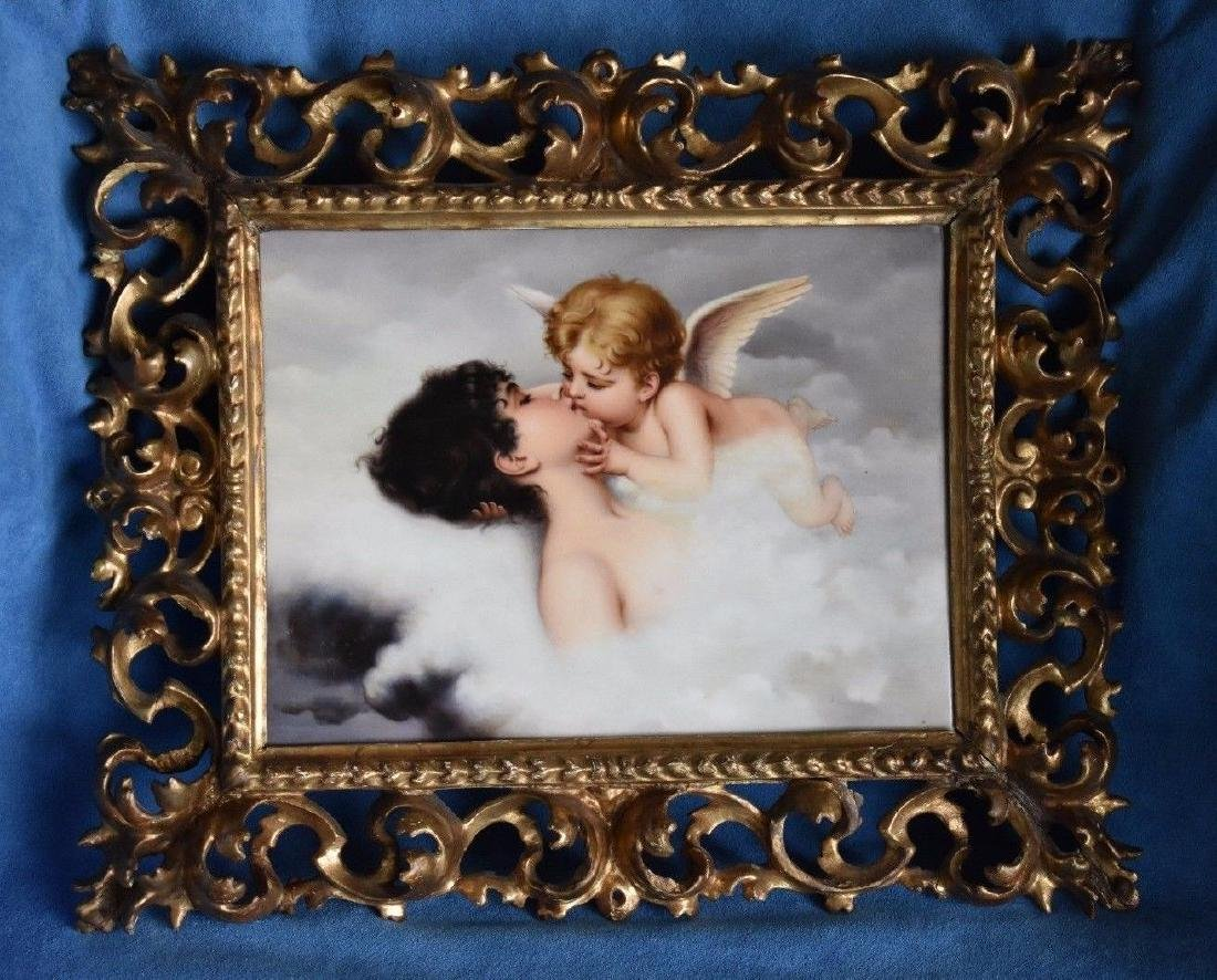 "MAGNIFICENT KPM ""CUPID PSYCHE DREAM KISS"" PLAQUE SIGNED - 3"