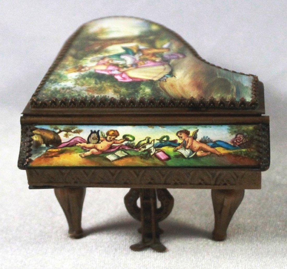 19TH C VIENNESE ENAMEL MINIATURE PIANO - 2