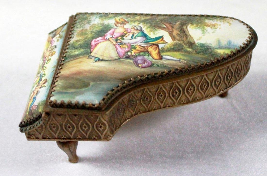19TH C VIENNESE ENAMEL MINIATURE PIANO - 4