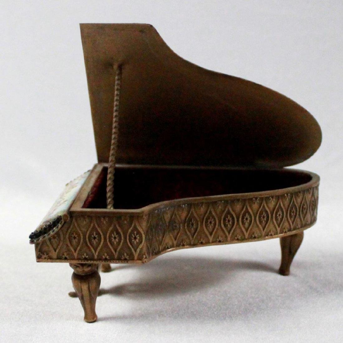 19TH C VIENNESE ENAMEL MINIATURE PIANO - 6