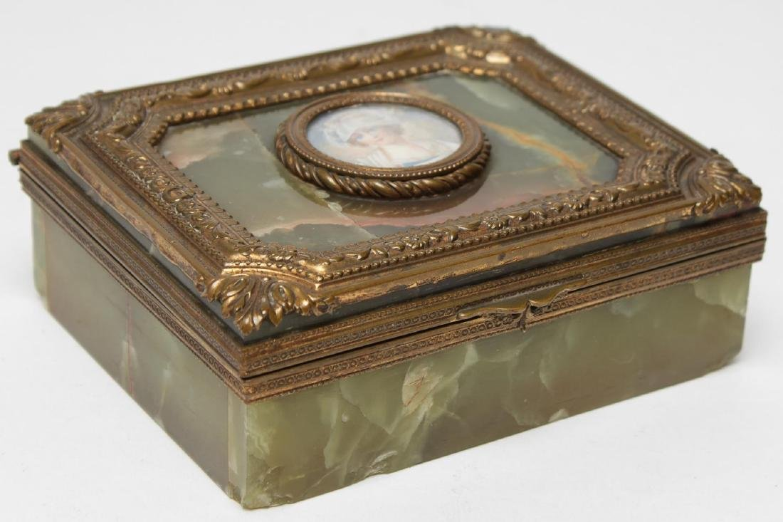 French Onyx & Ormolu Box with Miniature Portrait