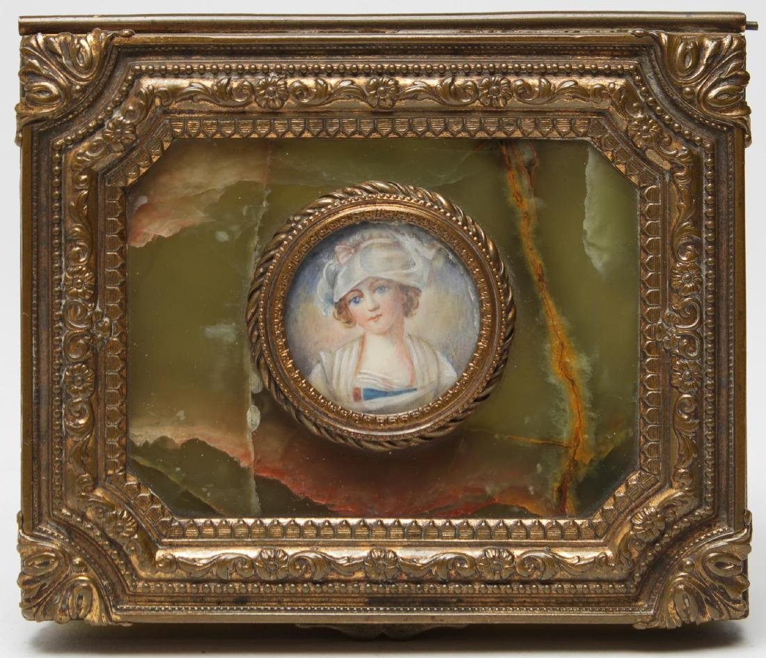 French Onyx & Ormolu Box with Miniature Portrait - 4