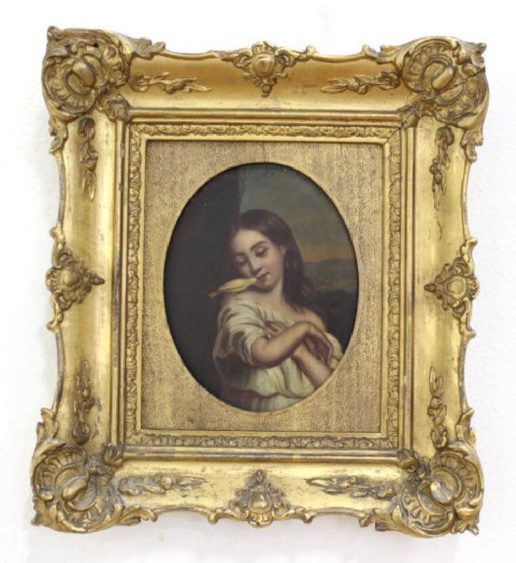 Late 19th C. Framed Oil on Tin Framed