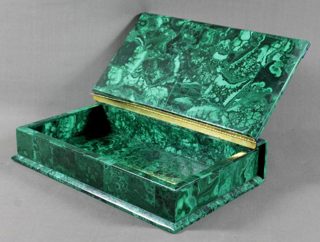 LARGE RUSSIAN DORE GILT BRONZE MALACHITE JEWELLED BOX - 6