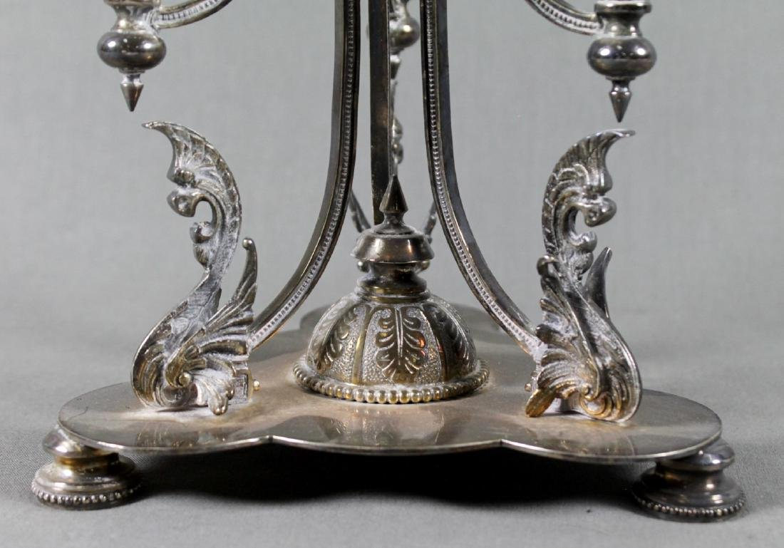 SILVERPLATE AND GLASS EPERGNE - 2