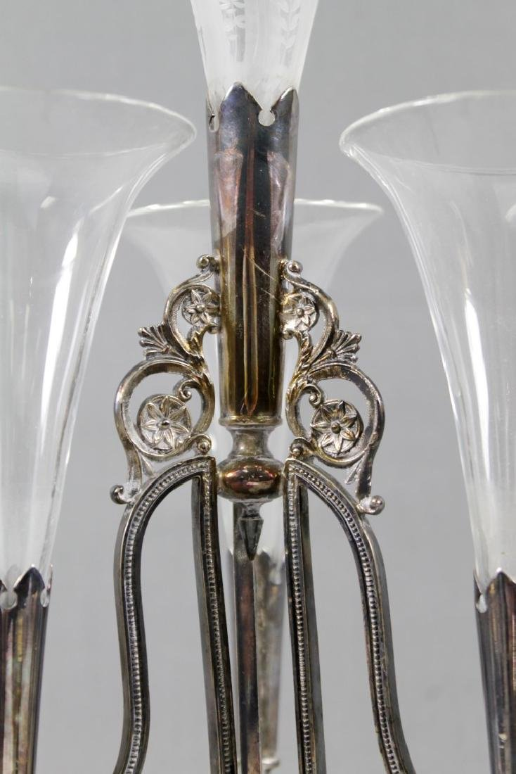 SILVERPLATE AND GLASS EPERGNE - 3