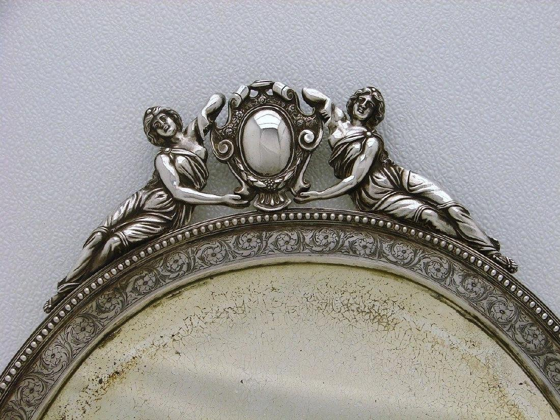 STERLING SILVER CHASED WALL DRESSER MIRROR AND FRAME - 3