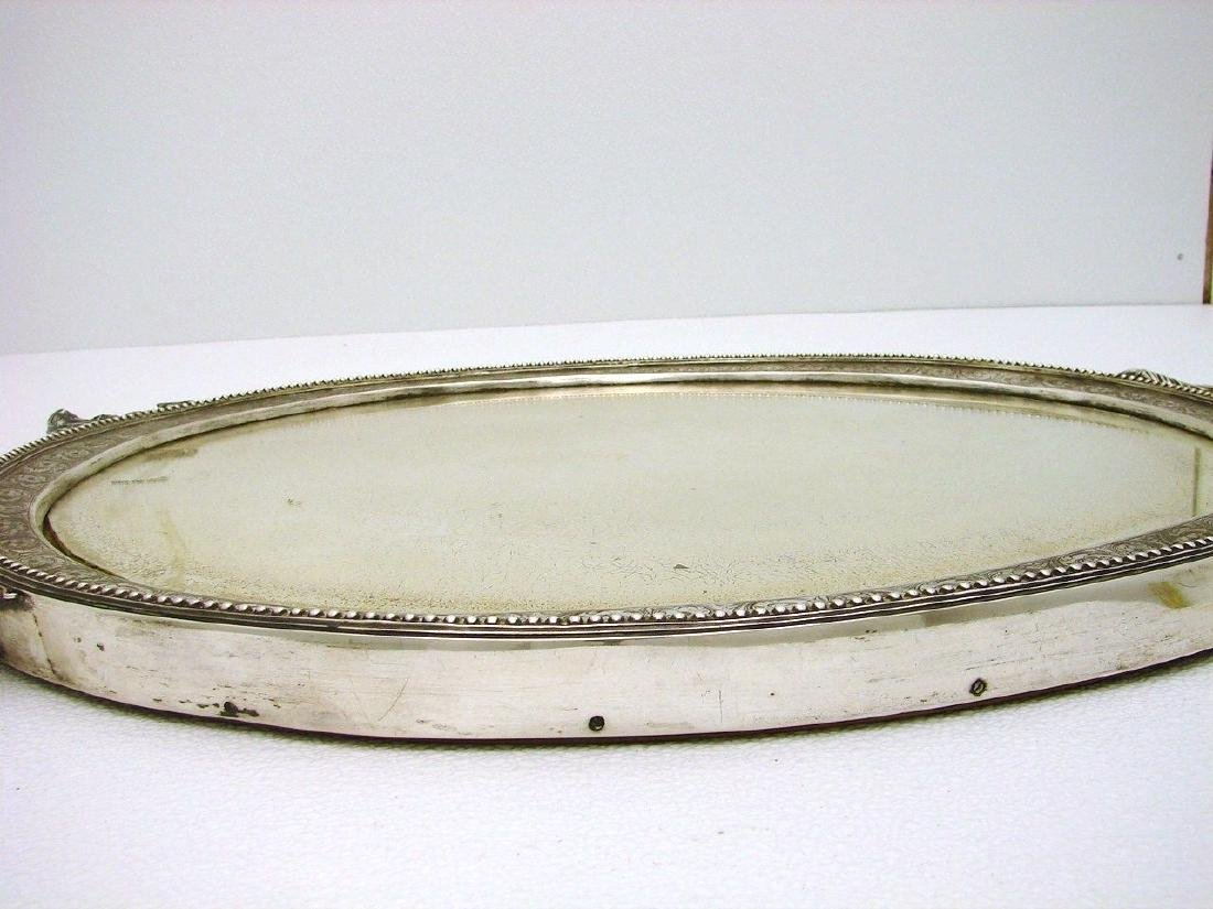 STERLING SILVER CHASED WALL DRESSER MIRROR AND FRAME - 5