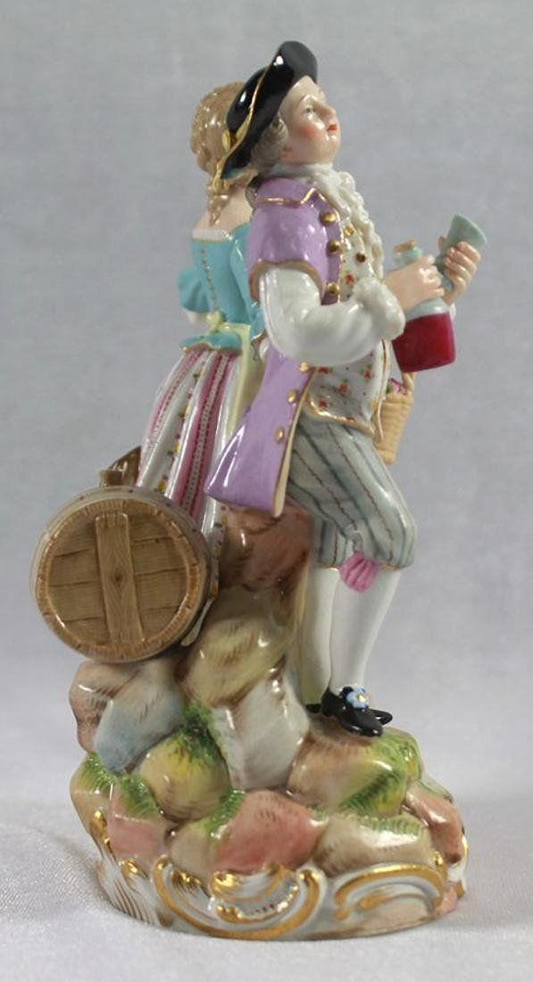 LATE 19TH C MEISSEN SAXONY GROUP OF MAN AND WOMAN - 4