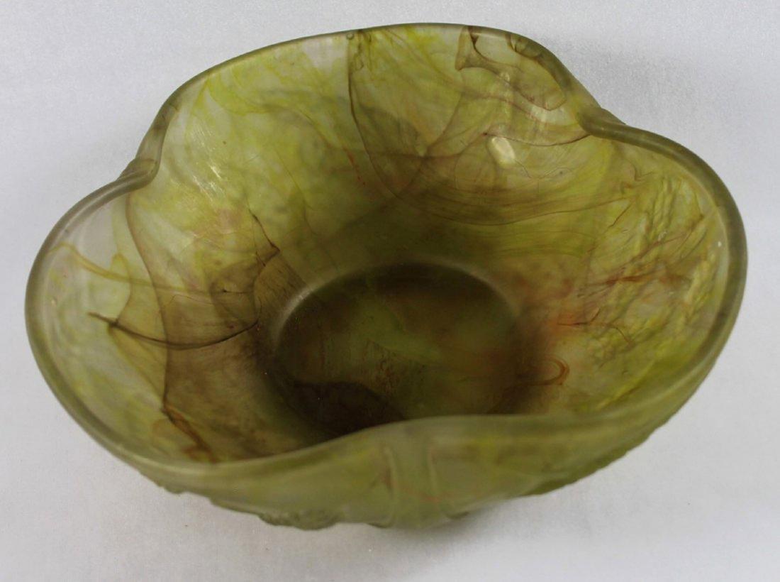 DAUM NANCY MOLDED GLASS BOWL, SIGNED - 3