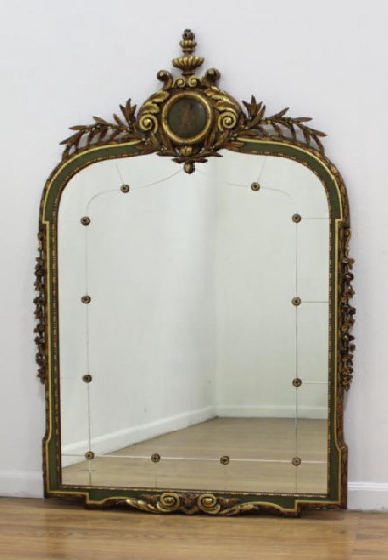 "Late 19th C. Carved Gilded Figural Mirror 55""H"