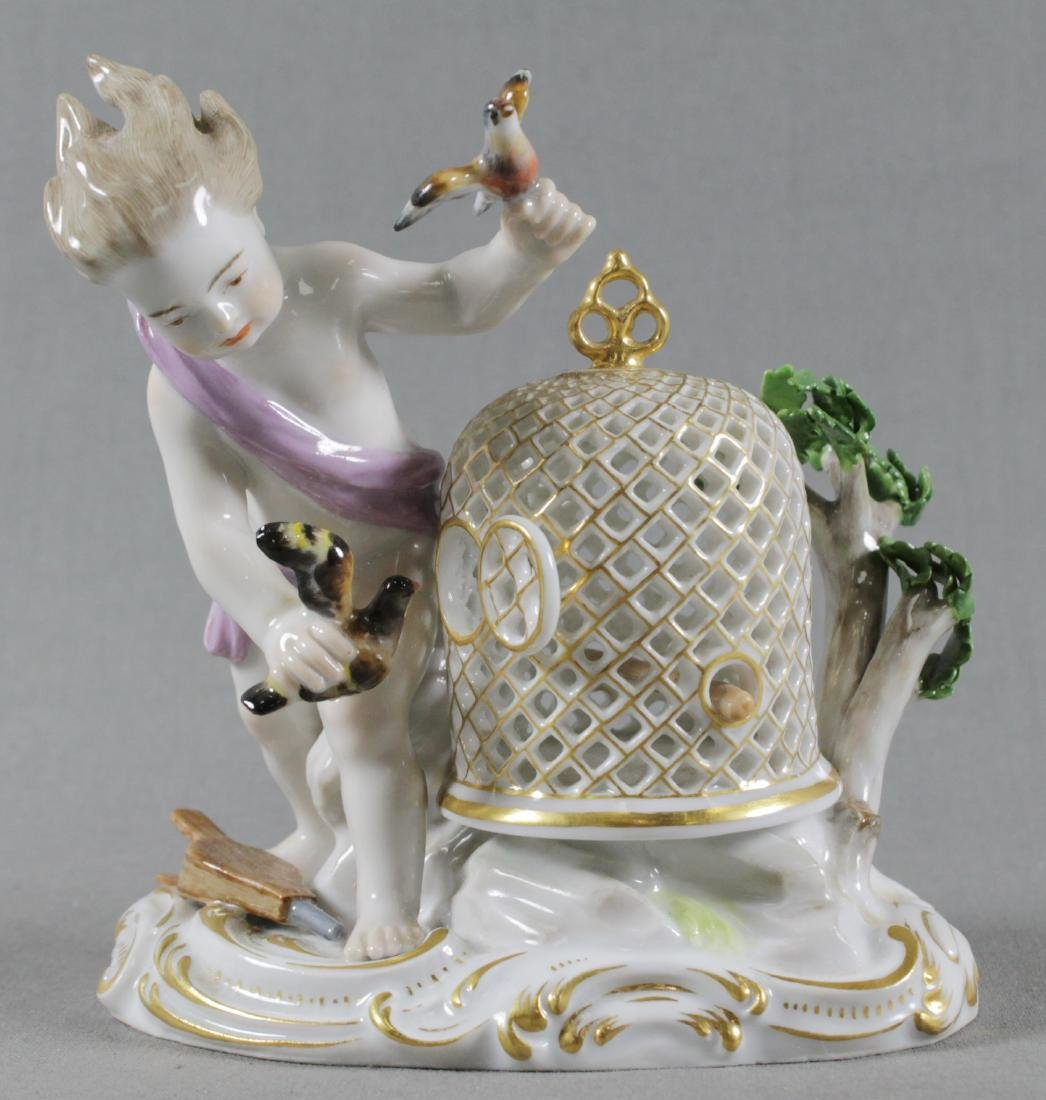 19TH C. MEISSEN FIGURE OF BIRDCAGE