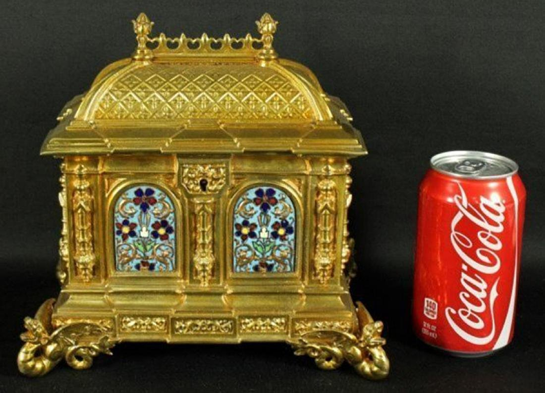 French Champleve Enamel and Bronze Box - 2