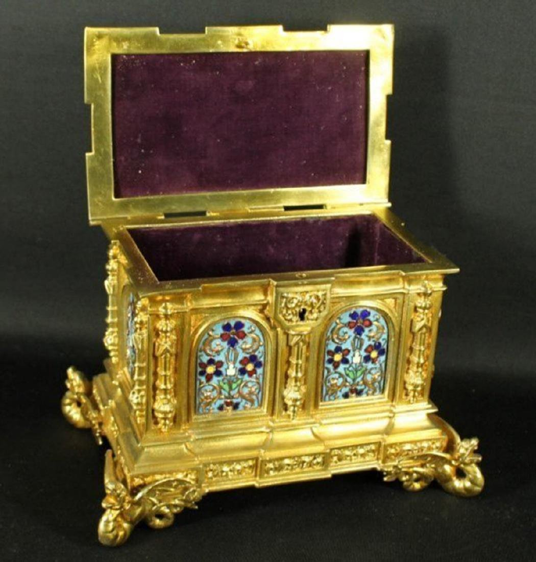 French Champleve Enamel and Bronze Box - 5