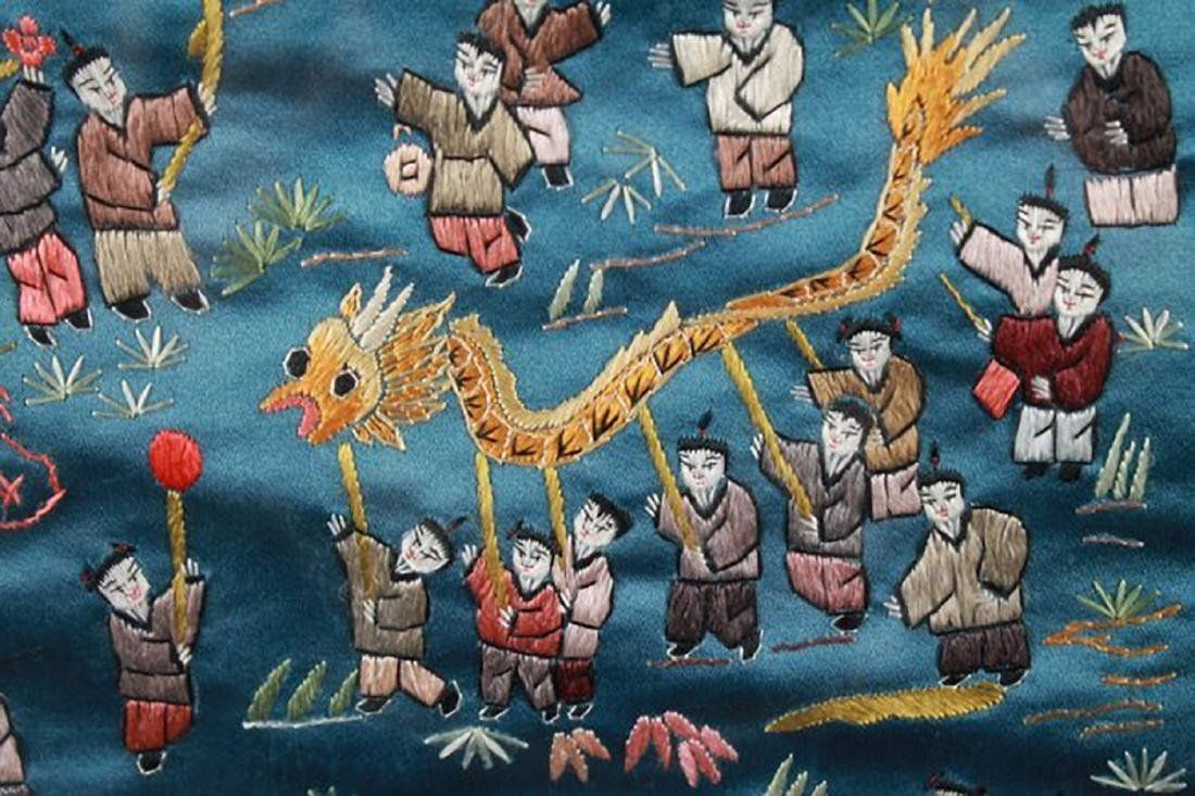 FRAMED CHINESE FABRIC - 3