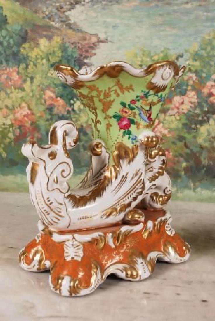 Pair of French 20th C. Cornucopia Vases - 3