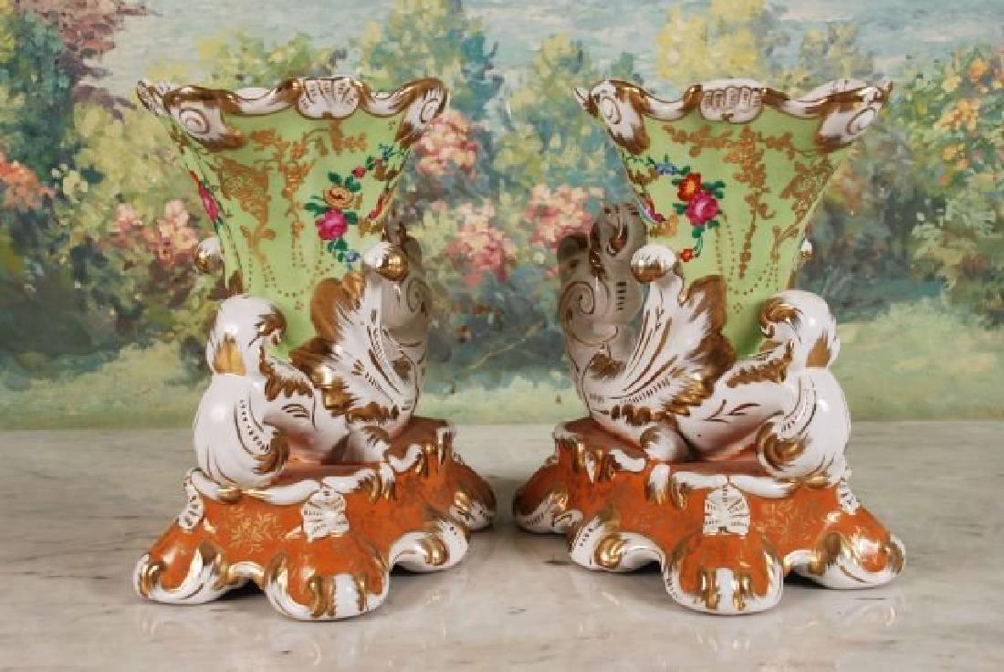 Pair of French 20th C. Cornucopia Vases - 5